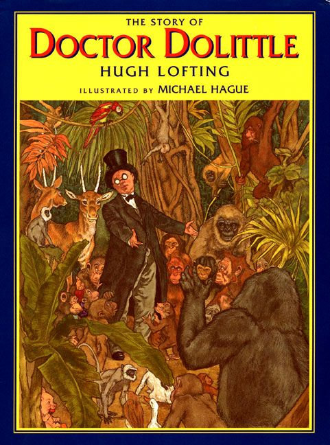 dr dolittle cover / a man with glasses in a tux and top hat stands in a clearing surrounded by jungle animals