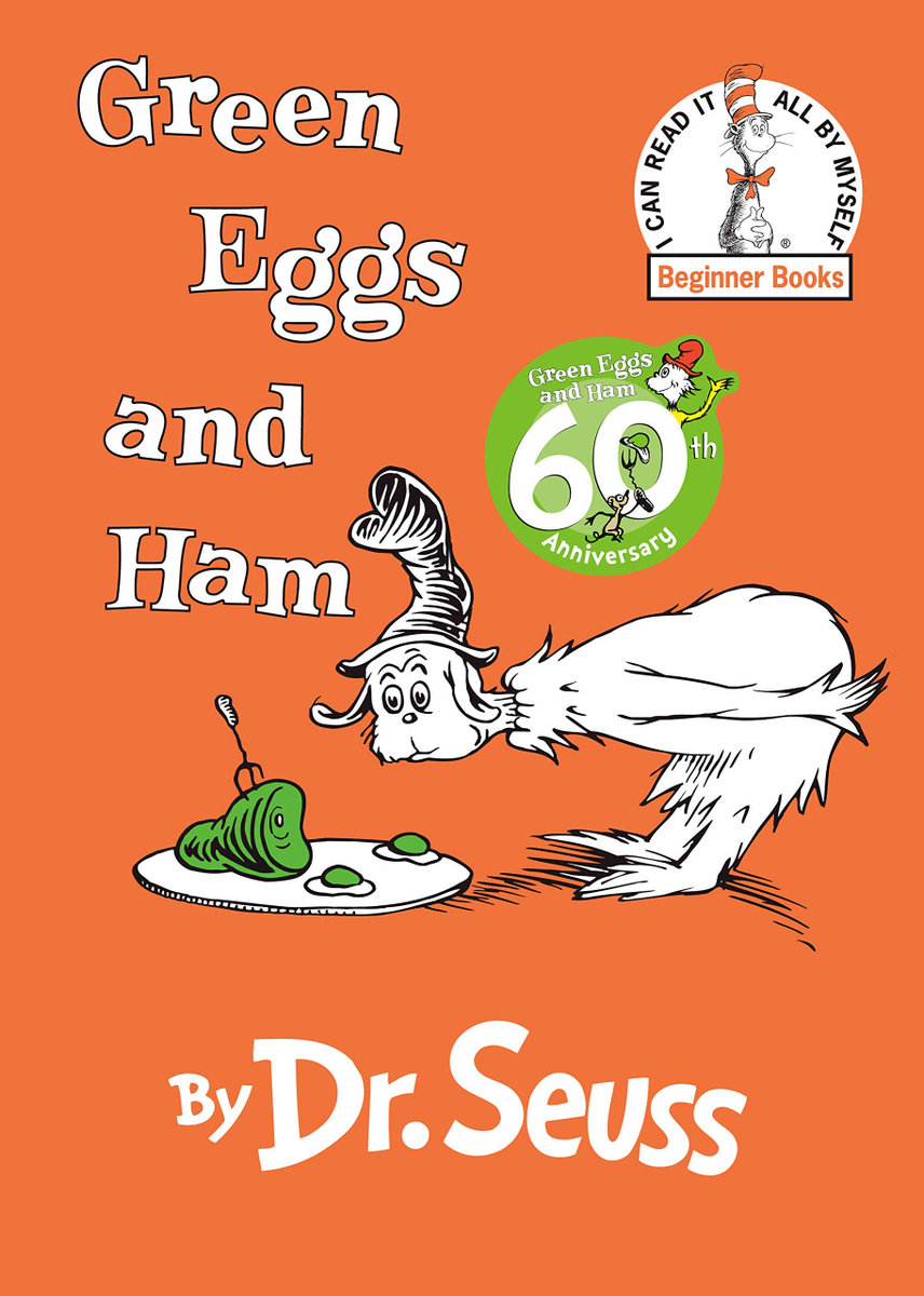 green eggs and ham cover / a dr seuss creature starring at a plate of green eggs against an orange field