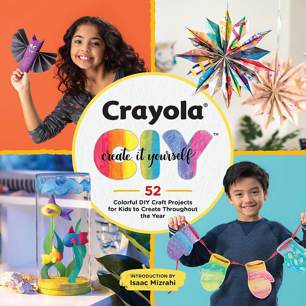 Crayola Create it Yourself / two children displaying home made crafts